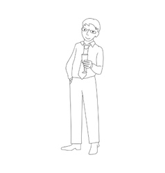 Businessman holding champagne glass vector