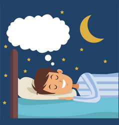 colorful scene boy dreaming in bed at night vector image