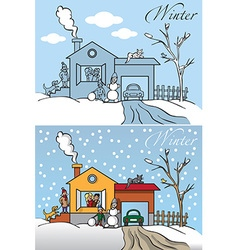 family winter house vector image vector image