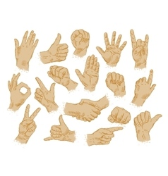 hand gestures set of symbols and icons vector image vector image