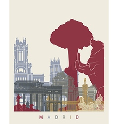 Madrid skyline poster vector image vector image