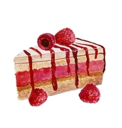 piece of cake watercolor painting on white vector image