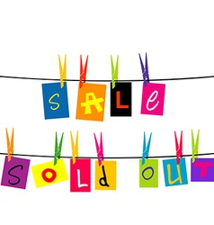 Sale and sold out hanging on a rope vector image vector image