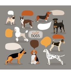 Set of dog breeds with speech bubbles vector image vector image