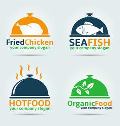various food logos vector image vector image