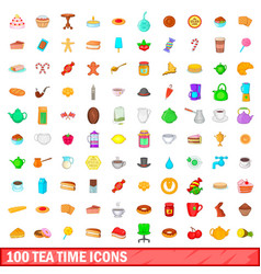 100 tea time icons set cartoon style vector image vector image