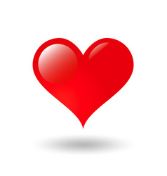 classic shiny valentine heart with shadow vector image vector image