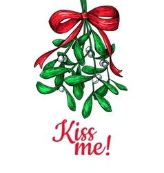 Kiss me under Mistletoe Christmas card with decor vector image vector image