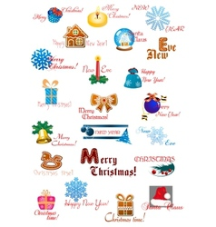 Traditional Christmas decoration collection vector image vector image
