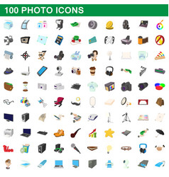 100 photo icons set cartoon style vector image vector image