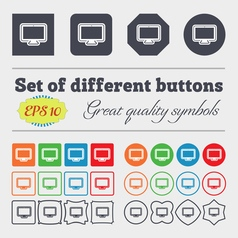 monitor icon sign Big set of colorful diverse vector image vector image
