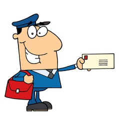 Postal Worker Mail Man Holding A Letter vector image