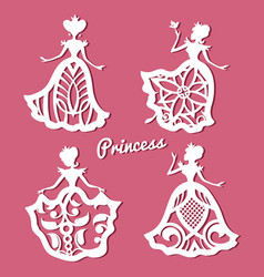 romantic princess in lacy wedding dresses with vector image vector image