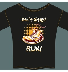 Shoe Design on Black T-Shirt vector image vector image