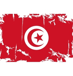 Tunisian grunge flag vector image vector image