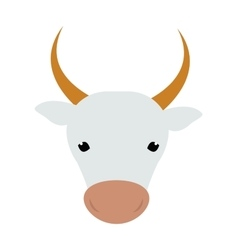White silhouette of cow head farm animal beef vector image
