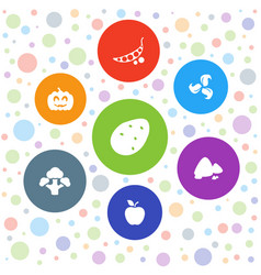 7 organic icons vector image