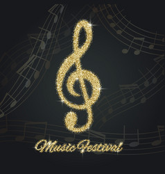 abstract background with gold music notes and a vector image