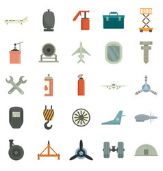 Aircraft repair icons set flat isolated vector