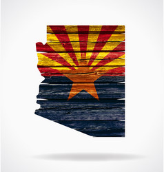 arizona map flag on old timber vector image