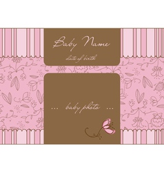 baby arrival card with photo frame vector image
