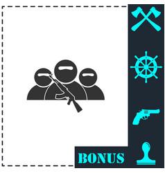 bandit group icon flat vector image