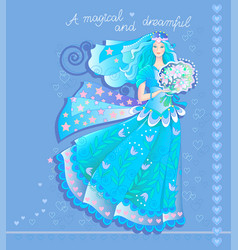 Beautiful fairy in luxurious dress with bouquet vector