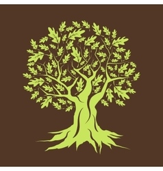 Beautiful green oak tree silhouette isolated vector