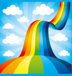 Beautiful rainbow and clouds vector
