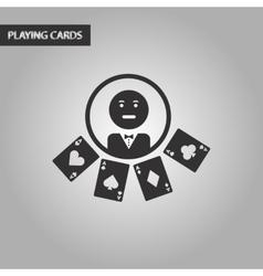 Black and white style casino dealer vector