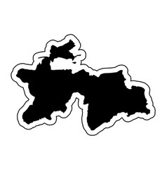 black silhouette of the country tajikistan with vector image