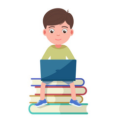 Boy sits on book and works engaged in a laptop vector