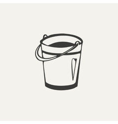 bucket Black and white style vector image