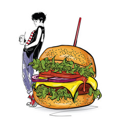Burger with stylish girl in the sketch style on vector