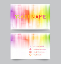 Business card template abstract bright rainbow on vector
