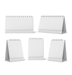 Calendar mockup with blank pages and spiral set vector