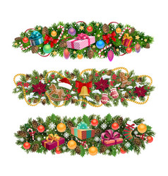 christmas tree borders holiday vector image
