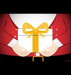 closeup santa claus give gift to you art vector image