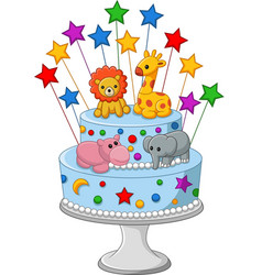 colorful birthday cake vector image