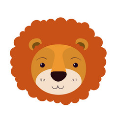 Colorful caricature cute face of lion tranquility vector
