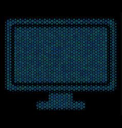 computer display composition icon of halftone vector image