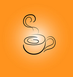 Cup line icons on an orange gradient background vector