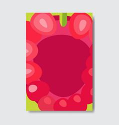 Cut raspberry template card slice fresh fruit vector