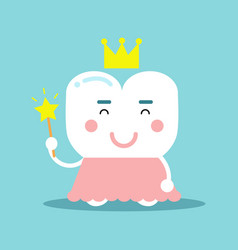 Cute cartoon tooth character in a pink dress and vector