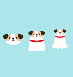 Cute dog set face body sitting puppy red collar vector