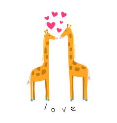 cute of giraffes in love vector image
