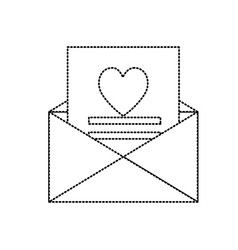 dotted shape love card and romantic decoration vector image