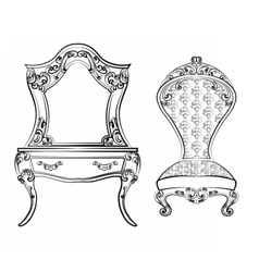 Dressing table and armchair vector