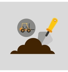 Excavator wheeled construction spatula design vector
