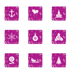 Fabulous winter icons set grunge style vector